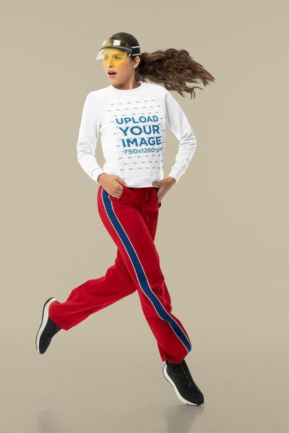 Sweatshirt Mockup of a Surprised Woman in Midair m10758