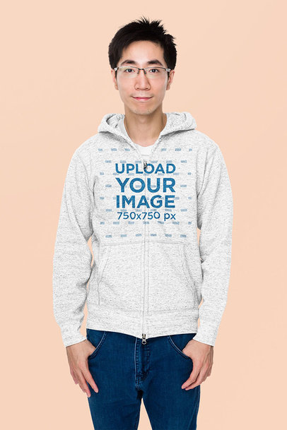 Simple Mockup of a Young Man Wearing a Heather Hoodie in a Studio m7925-r-el2