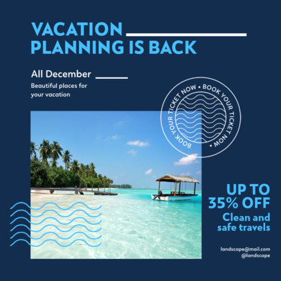 Instagram Post Design Maker to Promote a Vacation Package Discount 4253f-el1