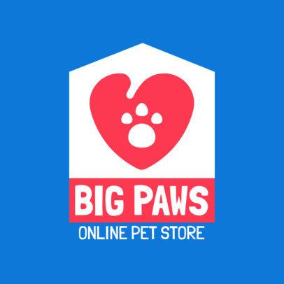Pet Shop Logo Generator Featuring a Heart with a Paw 4239d-el1