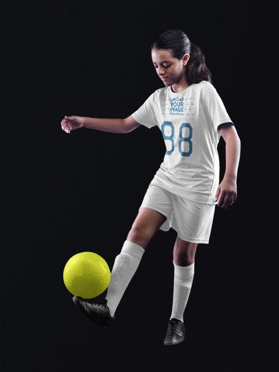 Custom Soccer Jerseys - Girl with Ball on her Foot a16545