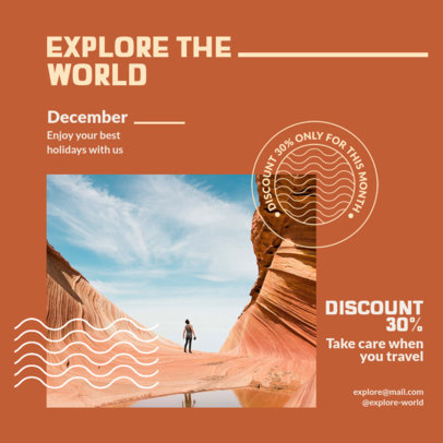 Travel-Themed Instagram Post Creator Featuring a Discount 4253c-el1