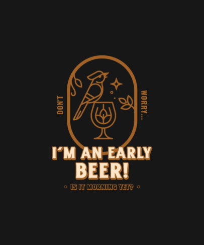 Quote T-Shirt Design Maker Featuring a Minimal Graphic and a Beer Theme 4231e-el1