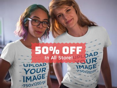 Facebook Ad - Two Girls Posing While Wearing T-Shirts Mockup a16413