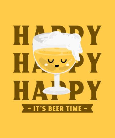 T-Shirt Design Maker with a Happy Beer Cartoon 4229e-el1