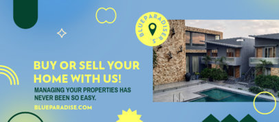 Facebook Cover Template for Real Estate Agents Featuring Abstract Icons 3909k