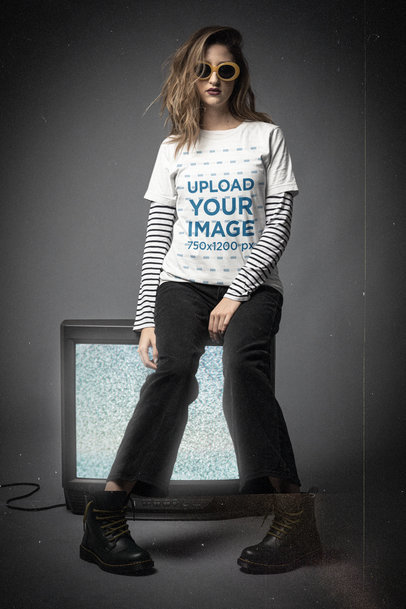 T-Shirt Mockup Featuring a Woman and a 90s Grunge Aesthetic m12753