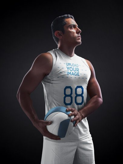 Volleyball Jersey Maker - Muscular Man Standing with the Ball a16648