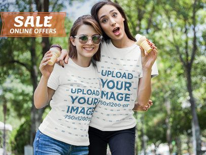 Facebook Ad - Two Girls Eating Ice Cream Wearing T-Shirts a16345