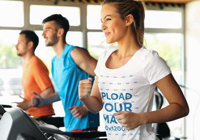 T-Shirt Mockup of a Woman Jogging on a Treadmill 42570-r-el2