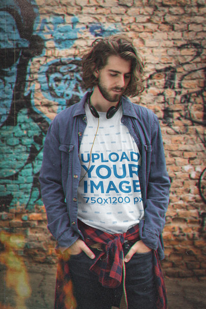 T-Shirt Mockup of a Man with Vintage Headphones in a Grunge-Style Outfit M12535