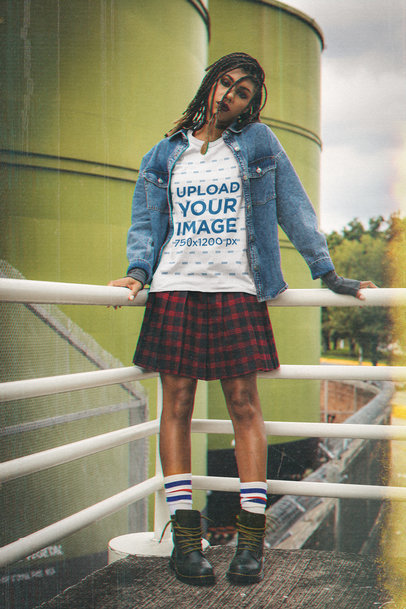 T-Shirt Mockup of a Woman with Locs Wearing a Grunge-Style Outfit M12519