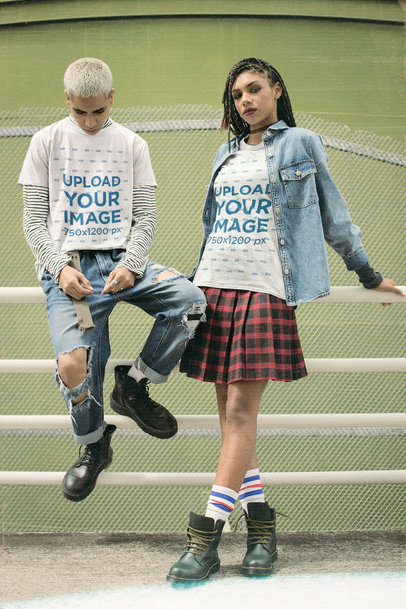 T-Shirt Mockup of a Man and a Woman Wearing 90s-Inspired Outfits m12516