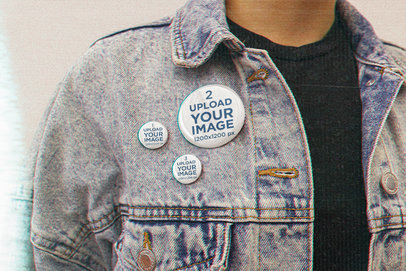 Button Mockup Featuring a Man Wearing Grunge-Styled Garments m12559