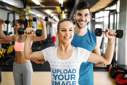 T-Shirt Mockup of a Happy Woman Reaching Her Fitness Goals 42211-r-el2