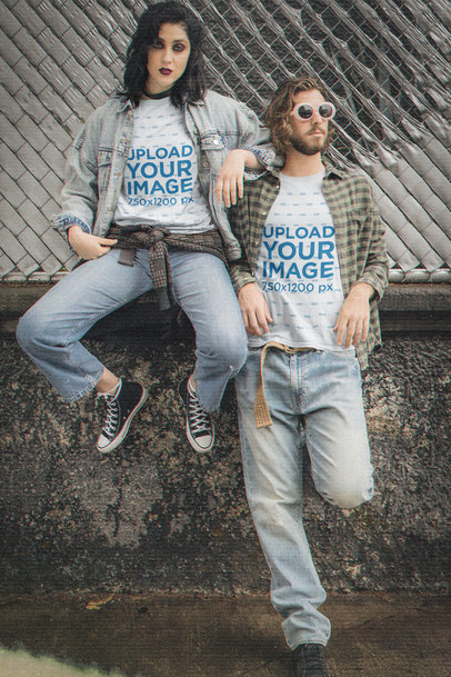 T-Shirt Mockup of a Couple Wearing 90's Grunge-Inspired Garments M12539