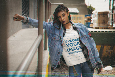 Retro T-Shirt Mockup Featuring a Serious Woman With a 90s Grunge Style m12525