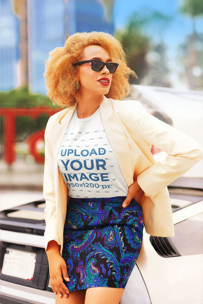 Retro-Styled T-Shirt Mockup Featuring a Stylish Woman With Sunglasses m12023
