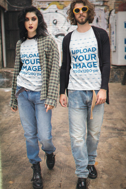 Round-Neck Tee Mockup of a Couple in Grunge-Aesthetic Outfits M12543