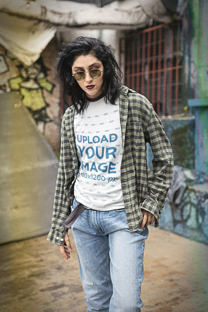 T-Shirt Mockup of a Bold Woman Wearing a Grunge Style from the '90s m12553