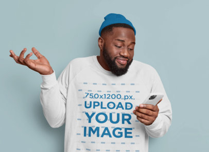 Sweatshirt Mockup of an Indifferent Man Checking His Phone m3566-r-el2