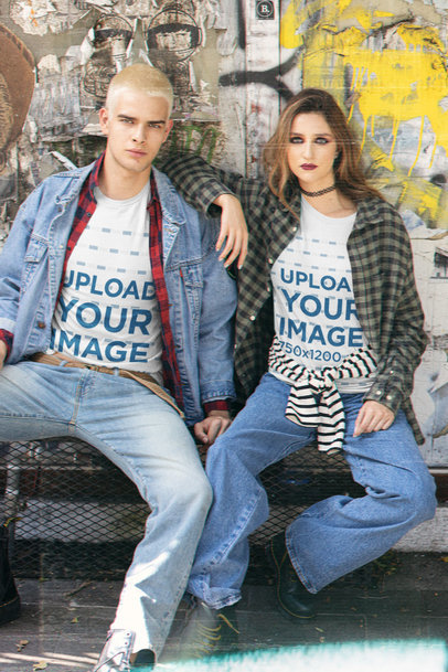 Bella Canvas T-Shirt Mockup Featuring a Man and a Woman With a Grunge Style m12761