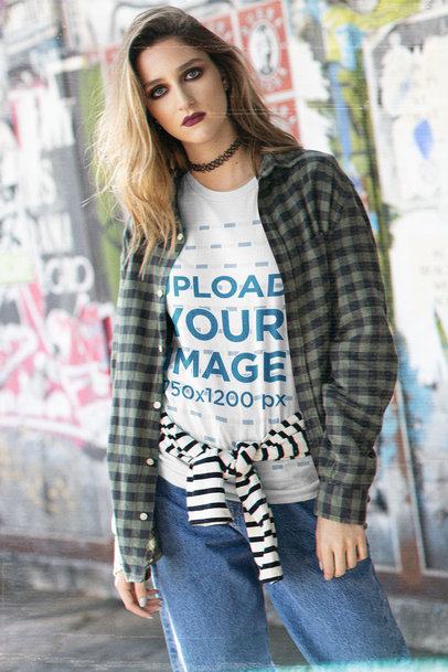 90s Grunge-Styled Mockup of a Young Woman Wearing a Bella Canvas T-Shirt m12759