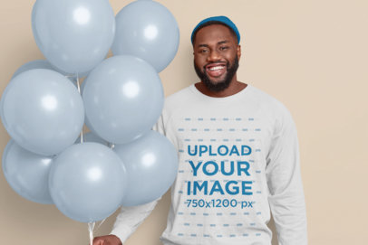 Sweatshirt Mockup of a Happy Man Holding a Bunch of Balloons m3570-r-el2
