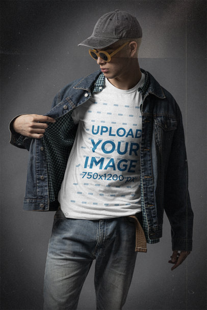 Bella Canvas T-Shirt Mockup Wearing Retro Sunglasses and a Grunge Attire m12713