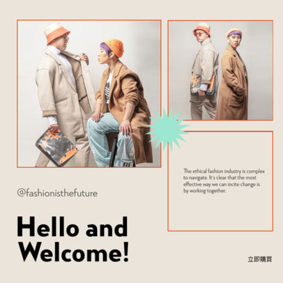 Instagram Post Template for an Ethical Clothing Brand to Share News 4279d-el1