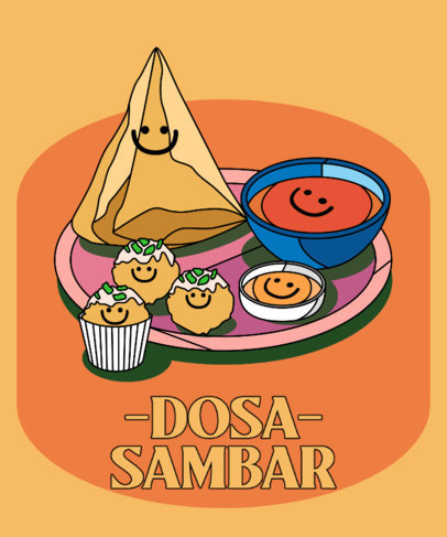 Colorful T-Shirt Design Creator with Happy Indian Foods 3646a