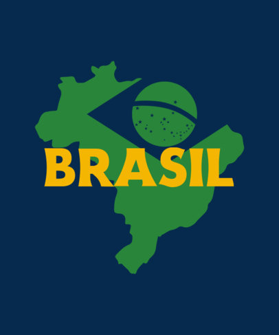 T-Shirt Design Template Featuring a Brazilian's Flag Graphic 3954i