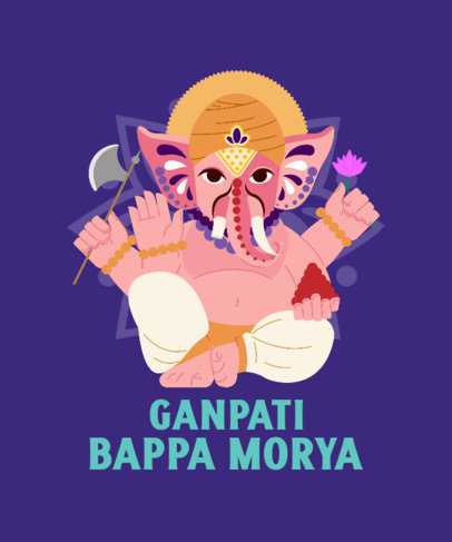 T-Shirt Design Template Featuring a Ganesh Chaturthi Theme and a Quote 3947d