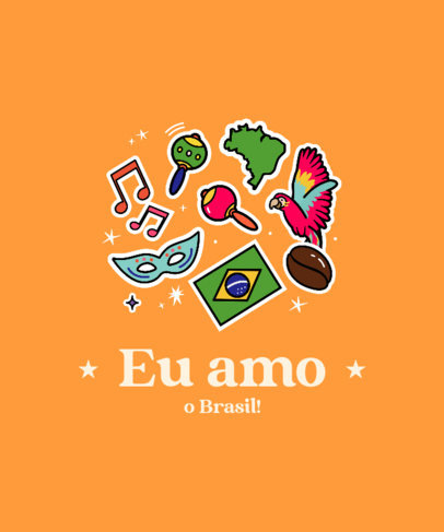 T-Shirt Design Template with a Festive Brazilian Theme 3951a