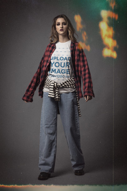 Bella Canvas T-Shirt Mockup Featuring a Woman in a 90s Grunge Outfit m12742