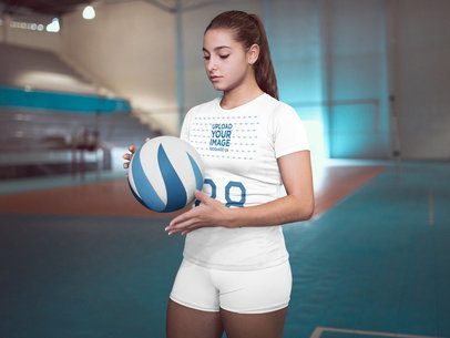 Volleyball Jersey Maker - Girl at the Court Holding the Ball Before Training a16541