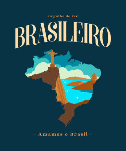 Patriotic T-Shirt Design Template Featuring Brazil-Themed Graphics 3952e