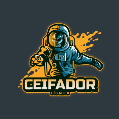 Logo Generator for Gamers Featuring a Skeleton in an Astronaut Suit 4564b
