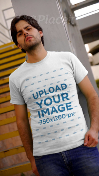 T-Shirt Video Featuring a Man Walking Down the Stairs 3697v