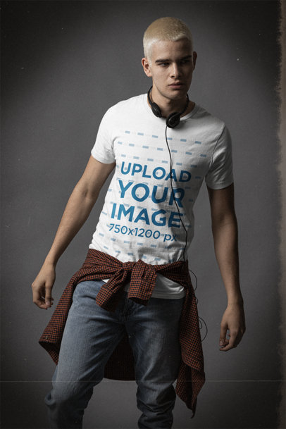 Bella Canvas Tee Mockup of a Man with Dyed Hair Wearing a Grunge Outfit m12716