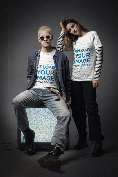 Bella Canvas Tee Mockup of a Couple at a Studio with 90's Grunge Outfits m12736