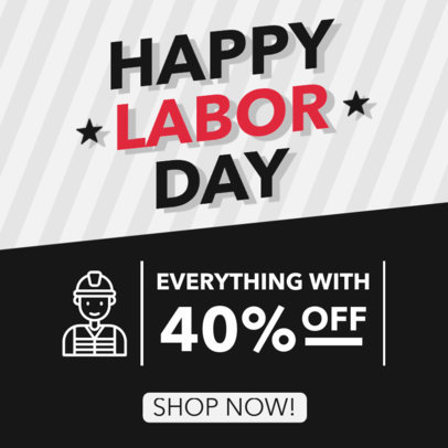Instagram Post Maker With a Happy Labor Day Message and a Special Offer 4318d-el1