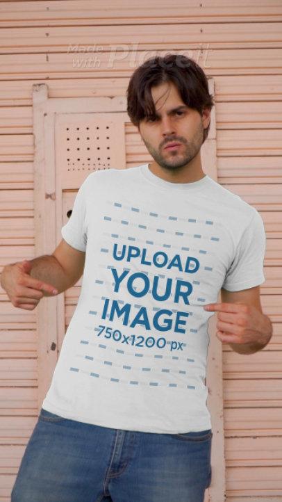 T-Shirt Video Featuring a Bearded Man Walking Through an Urban Setting 3685v