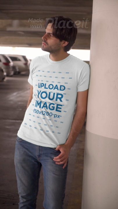 T-Shirt Video Featuring a Serious Man at a Parking Lot 3684v