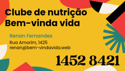 Colorful Business Card Design Generator for a Brazilian Nutritionist 3973g