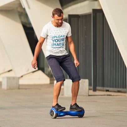 T-Shirt Mockup of a Man on a Hoverboard m8274-r-el2