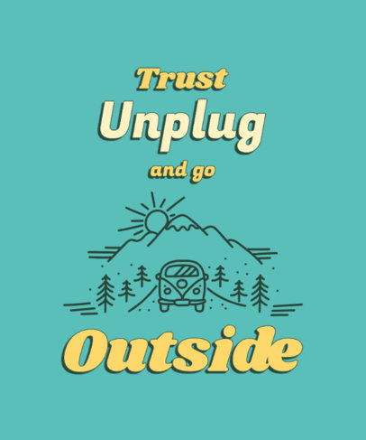 T-Shirt Design Generator Featuring an Outdoor Theme and Disconnect Quote 3964h