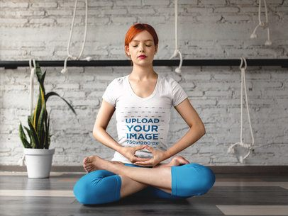 T-Shirt Mockup of a Woman Meditating With Her Legs Crossed 16837