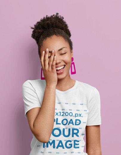 T-Shirt Mockup of a Woman Wearing Retro Earrings m3582-r-el2