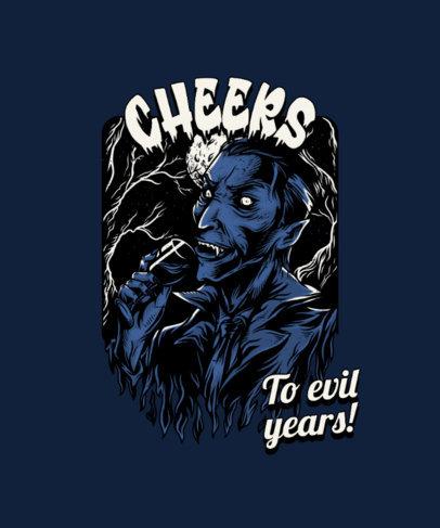 T-Shirt Design Template Featuring Vintage Horror Illustrations 4349-el1